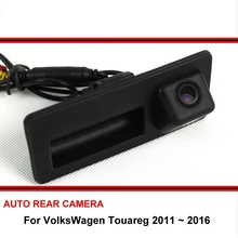 For VolksWagen Touareg 2011 ~ 2016 Trunk Handle OEM Night Vision HD CCD Reverse Backup Rear View Camera Car Rearview Parking