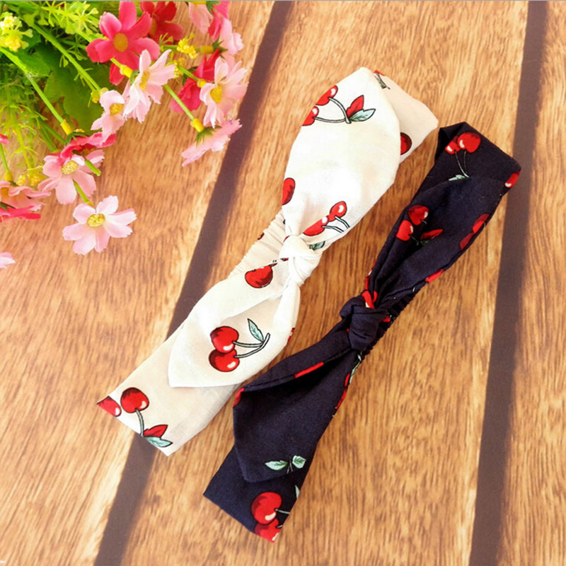 ФОТО New Baby Headband Cute Cherry Print Knot Tie Headwrap Newborn Cotton Head Wrap Photo Prop Stretchy Knot Girls Hair Accessories