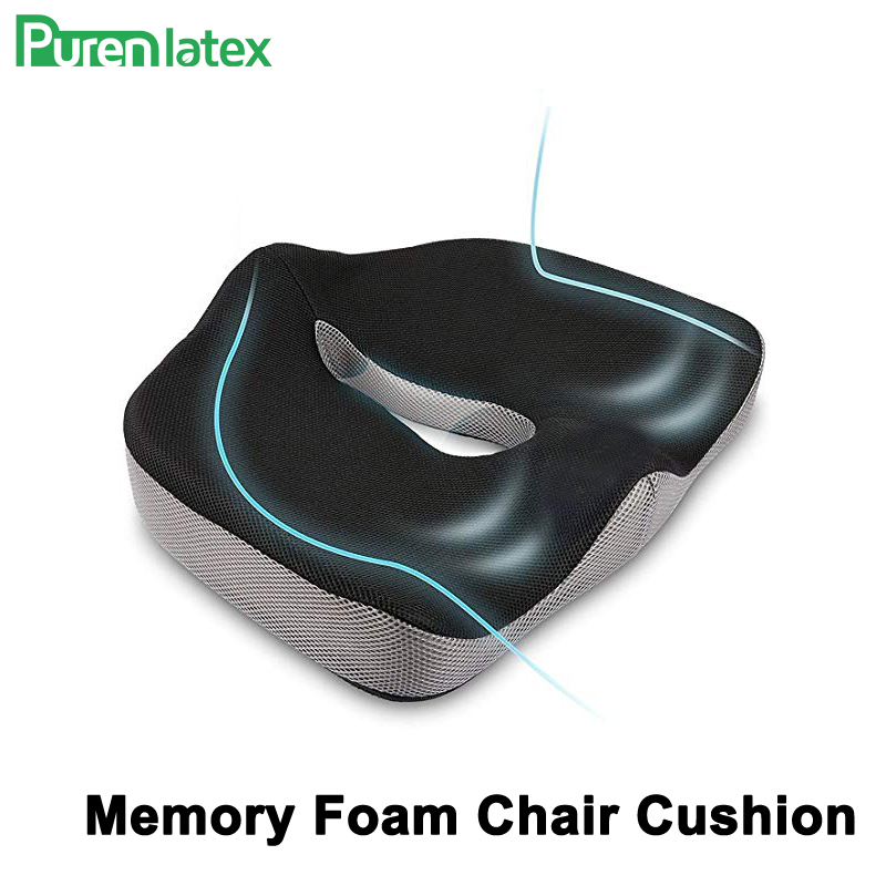 PurenLatex Memory Foam Chair Orthopedic Cushion Office Seat Pad Hemorrhoid Treat Car Seat Big Relief Pain Tailbone Coccyx Pillow