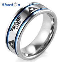 SHARDON 8mm Men S Blue Grooves Tungsten Carbide Ring Comfort Fit With Lasered Zelda Design Wedding