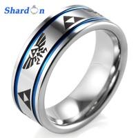 SHARDON 8mm Men's Blue Grooves Tungsten Carbide Ring comfort fit with lasered Zelda design Wedding Ring for men rings engagement