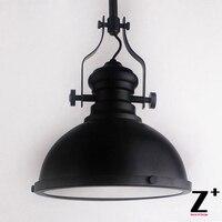 American Style Vintage Pendant Light Industrial Lamp Loft RH 20TH C FACTORY Dark Black Iron SINGLE