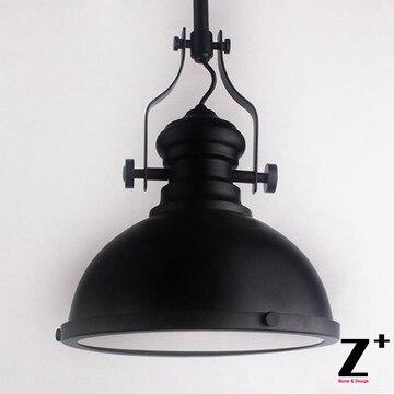 Americký styl Vintage Přívěsek Lehká Průmyslová lampa Loft 20TH C. FACTORY Tmavě černé železo JEDNODUCHÁ DOPRAVA zdarma