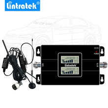 Lintratek Car Signal Booster 2G 3G UMTS 2100MHz GSM 900MHz Dual Band Cell Phone Cellular Signal Repeater Antenna Kit for Vehicle