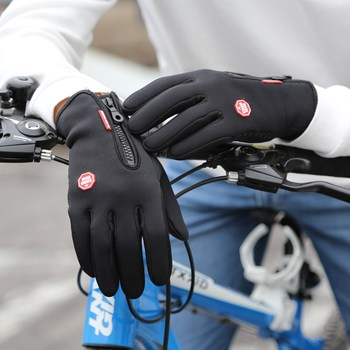 New Winter Outdoor Sport Windstopper Waterproof Gloves Black Riding Glove Motorcycle Gloves Long Finger Cycling Gloves фото
