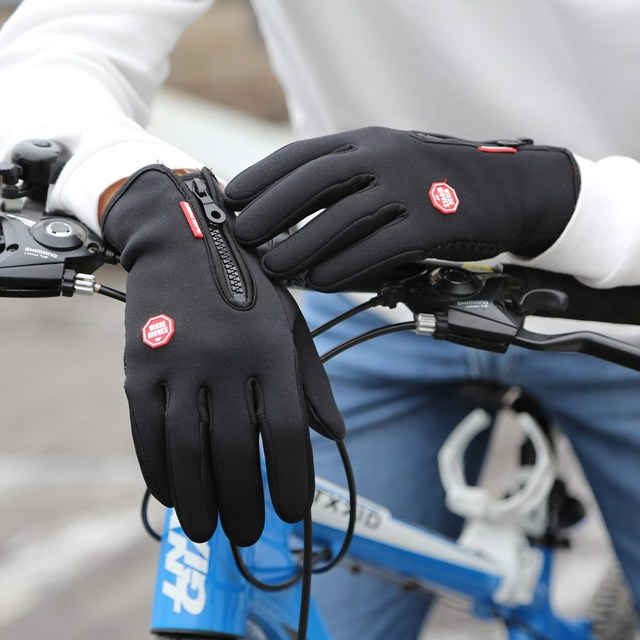 New Winter Outdoor Sport Windstopper Waterproof Gloves Black Riding Glove Motorcycle Gloves Long Finger Cycling Gloves