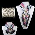 Novas mulheres Do Vintage tecer Cachecol Tubo de Slides fivela cachecol cachecol acessórios jóias Anel Lenço
