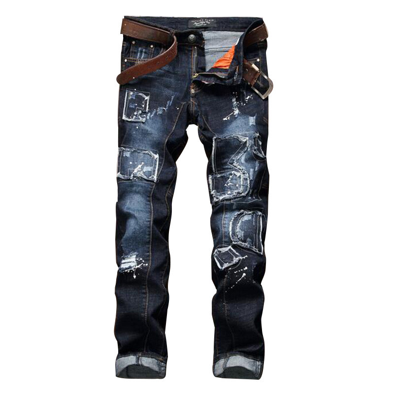 Male Distressed Jeans Pants Patchwork Brand Designer Mens Ripped Denim Joggers Splash Ink Slim Fit Destroyed Torn Jean Trousers купить