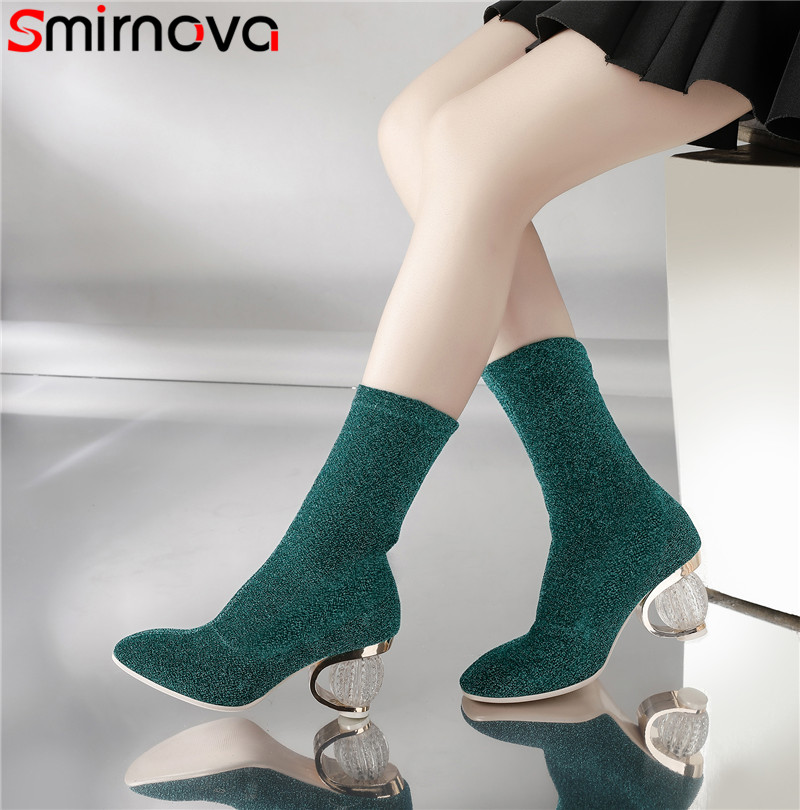 Smirnova size 35-43 fashion autumn new arrival shoes woman square toe mid calf boots for women elegant prom ladies boots