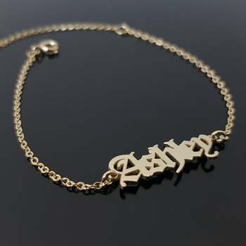 Custom Name Bracelet Charms Handmade Women Jewelry Personalized Gold Chain Old English For BFF