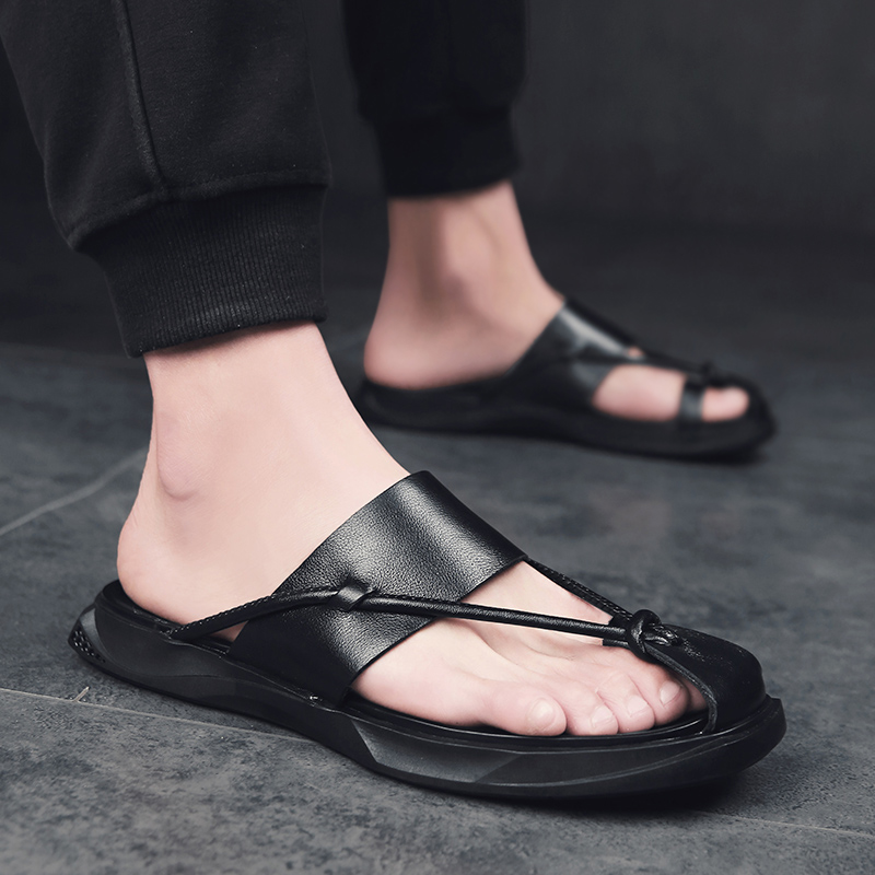 Men Leather Slipper Sandals Split Leather Men Beach Shoes Slip On Flip Flops Men Casual Shoes Summer Shoes
