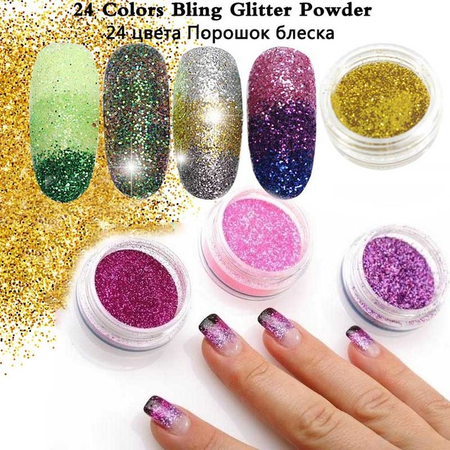 Aliexpress buy 24pcs assorted colors nail art glitter powder 24pcs assorted colors nail art glitter powder dust uv gel polish acrylic nail tips manicure make prinsesfo Images