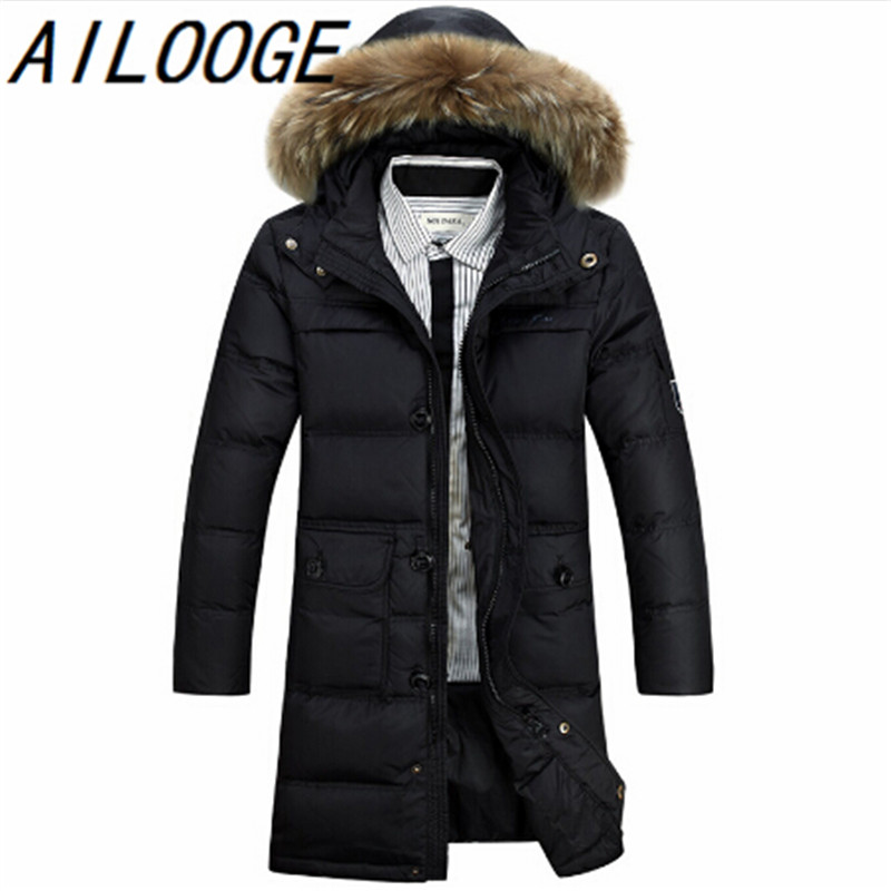 Winter Jacket Men 90% White Duck Down Long Jackets Keep Warm Coat Casual Mens thick Down Overcoat Jackets parka homme Brand New