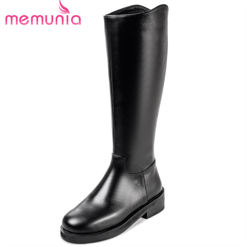 ФОТО MEMUNIA 2017 solid zipper plain contracted elegant big size 34-41 cowhide leather mid calf boots for women winter boots platform