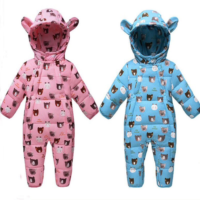 2017 Winter Newborn Romper White Down Dock Romper Baby Cartoon Hooded Thick Girls Romper Khaki Blue Pink Boys Baby Clothing For puseky 2017 infant romper baby boys girls jumpsuit newborn bebe clothing hooded toddler baby clothes cute panda romper costumes