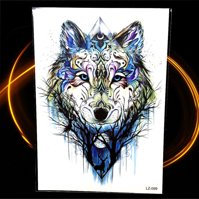 25 Design De Mode Geometrie Temporaire Tatouage Loup Foret Lune