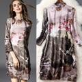 2016 primavera e verão roupas elegante vestido de gola de seda impresso T5055