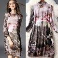 2016 primavera y el verano ropa mujer elegante hebilla del collar retro imprimió el vestido de seda T5055
