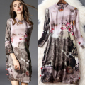 2016 spring and summer women clothes elegant retro buckle collar silk printed dress T5055