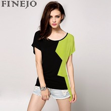 FINEJO Stylish Ladies Women Contrast Color O-neck Batwing Sleeve Loose Casual T-shirt 31