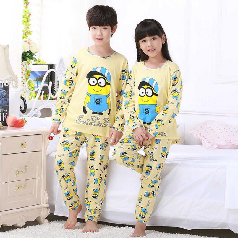 Cartoon Kinder Langarm-schlafanzug Jungen Mädchen Herbst Nachtwäsche Baby Nighty Anzug Kind Bedgown Kleidung Kinder Schönen Schlafanzug Anzug