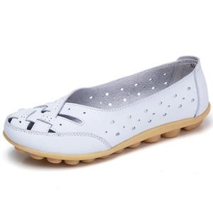 الشقق للنساء Comrfort جلد طبيعي حذاء مسطح امرأة Slipony المتسكعون حذاء راقصة البالية الإناث الأخفاف كبير حجم 35-44