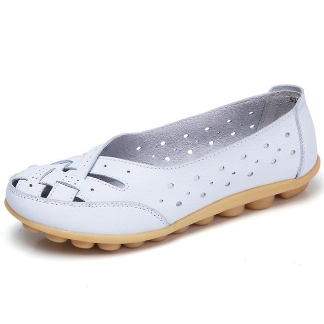 Appartements pour femmes Comrfort chaussures plates en cuir véritable femme Slipony mocassins chaussures de Ballet mocassins femme grande taille 35-44