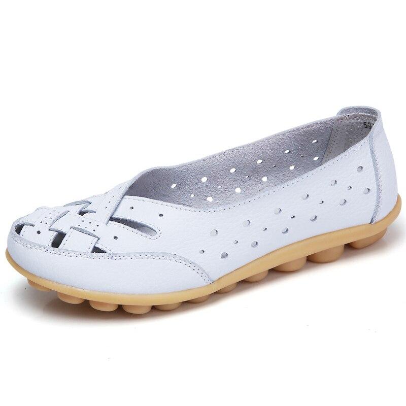 Planos para mujeres Comrfort zapatos planos de cuero genuino zapatos de mujer Slipony mocasines Ballet zapatos de mujer zapatos mocasines talla grande 35-44