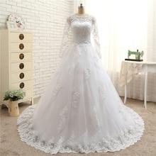 Elegant Vestido De Novia Vintage White Ball Gown Wedding Dress with Sleeves Robe De Mariage Princesse Bridal Gown 2017