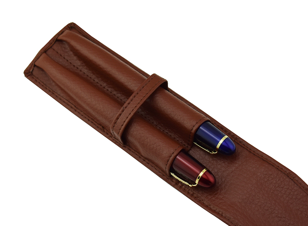 Image 5 - Genuine High Quality Leather Pencil Case Fountain Pen Case / Bag for 2 Pens   Coffee Pen Holder / Pouch-in Pencil Bags from Office & School Supplies