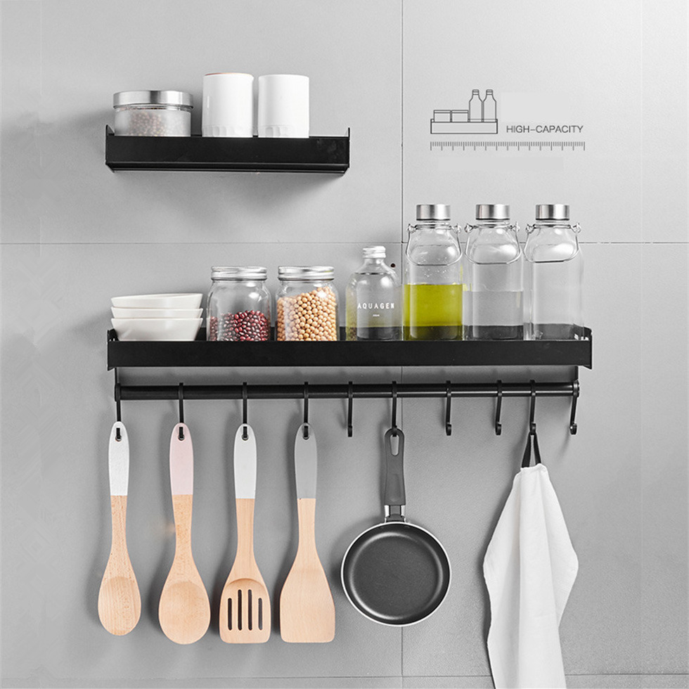 Black Kitchen Rack Aluminum Drain Hook Seasoning Bottle Wall Mounted Multi Function Pantry Storage Household 30cm 40cm 50cm
