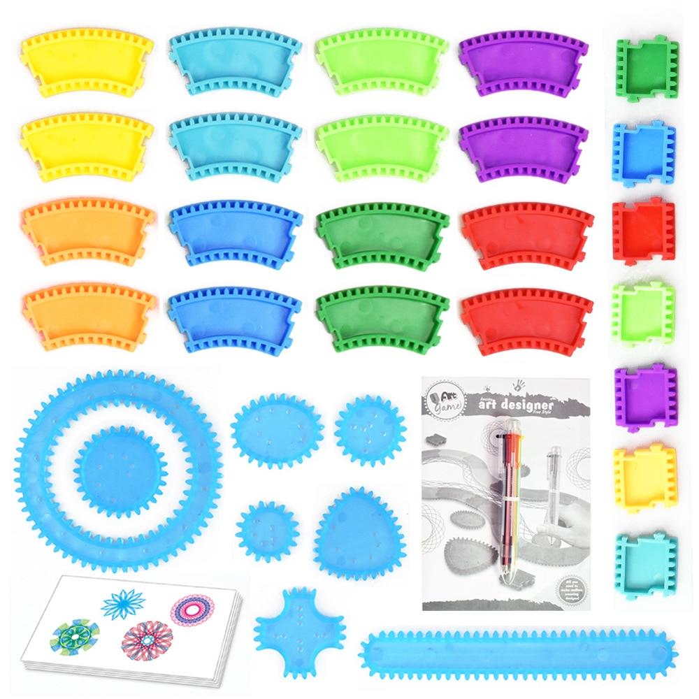 34 unids/set Simple Arte Creativo establece niño arte pintura regla pista modelo educativo juguetes flor mágica gobernante juegos