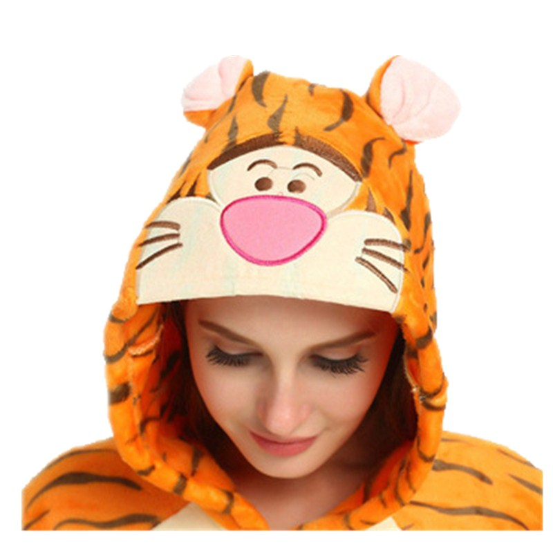 Funny Orange Tiger Animal Kigurumi Flannel Onesie For Women Pajamas Party Bodysuit Cosplay Unisex Sleepwear Halloween Pyjamas (7)