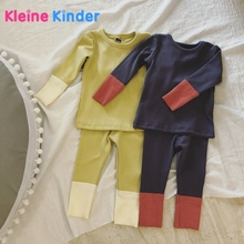 Купить с кэшбэком 2018 Spring Autumn 2 Pieces Children's Clothing Sets Pajamas Set Casual Suits Soft Cotton Patchwork Baby Boys Girls Clothes