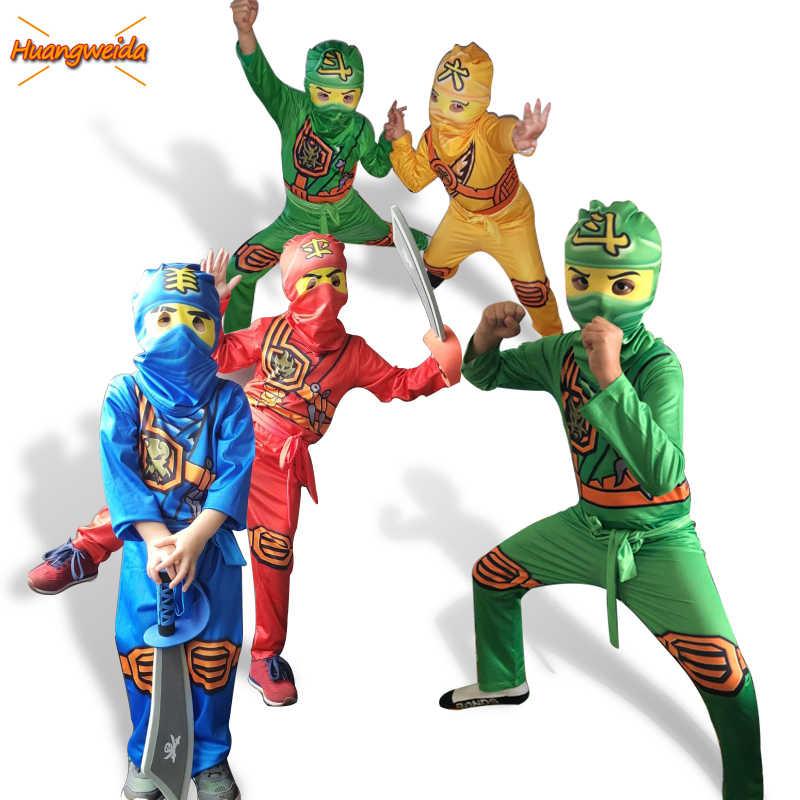 Ninjago Meninos Traje Trajes Crianças Party Fancy Dress Up Halloween Costume for Kids Ninja Cosplay de Super-heróis Macacões Set
