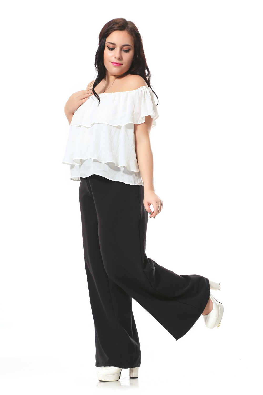 Plus size casual pants women with zip in waist design ...