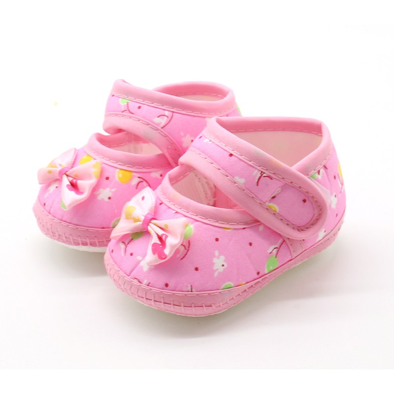 High Quality Bowknot Baby Girl Lace Fashion Pink Shoes Toddler Prewalker Anti-Slip First Walker Simple Baby Shoes J2