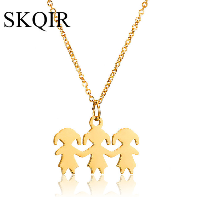 Skqir three girls figure pendant necklace stainless steel women skqir three girls figure pendant necklace stainless steel women fashion jewelry long sweater chain necklace best aloadofball Image collections