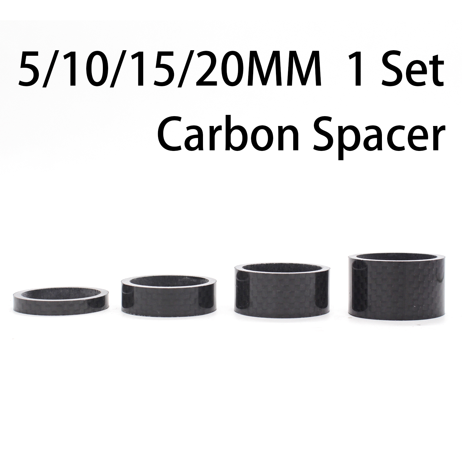 4PCS Full Carbon Fiber Bicycle Carbon Spacer 28.6-31.8mm OD2 Headset Parts Cycling Washer Bike Bicycle Headset Stem Spacers