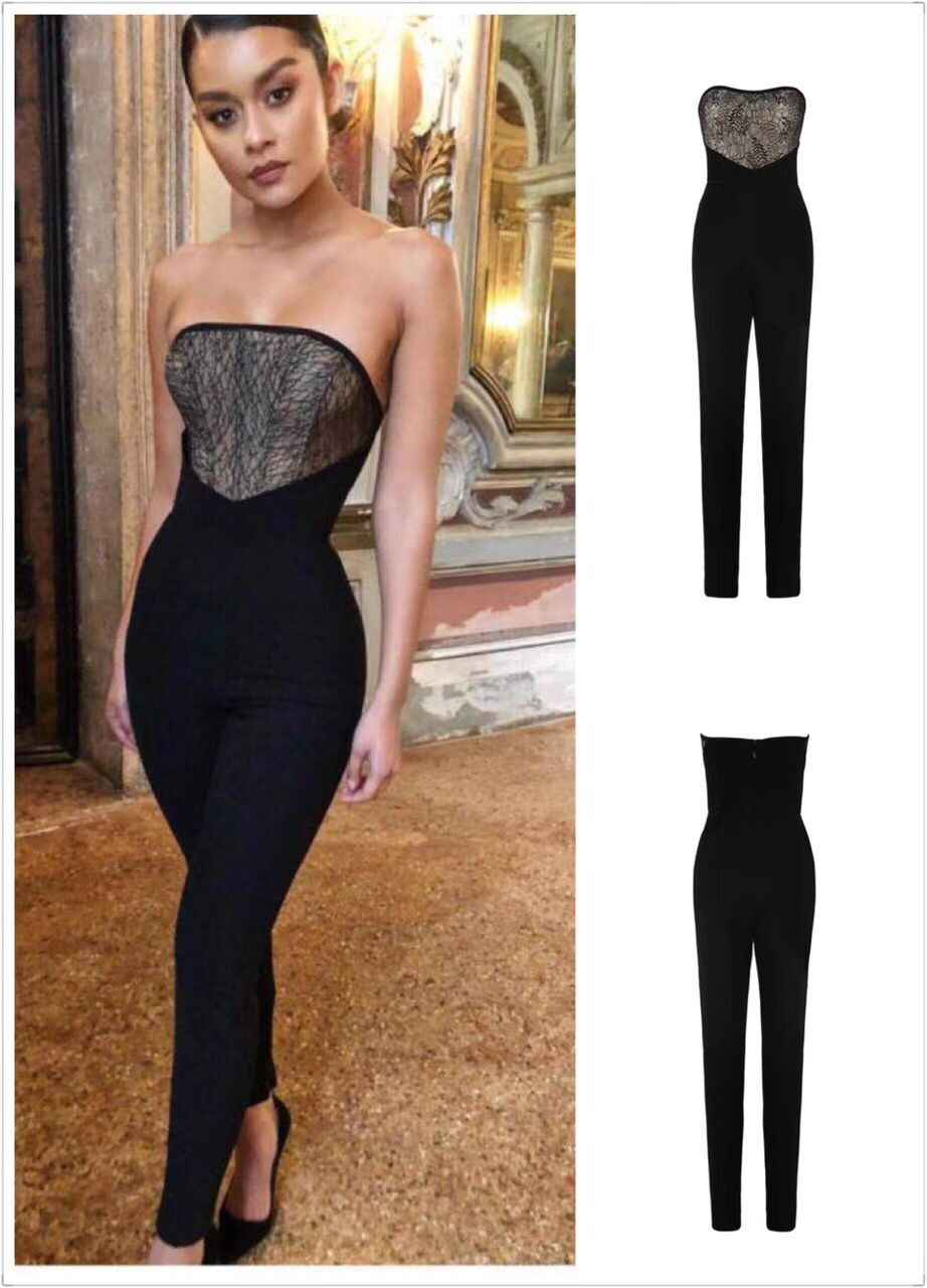 aad9782c165 New Celebrity Black Strapless Rayon Bandage Jumpsuit Full Length Top  Quality Party Jumpsuit