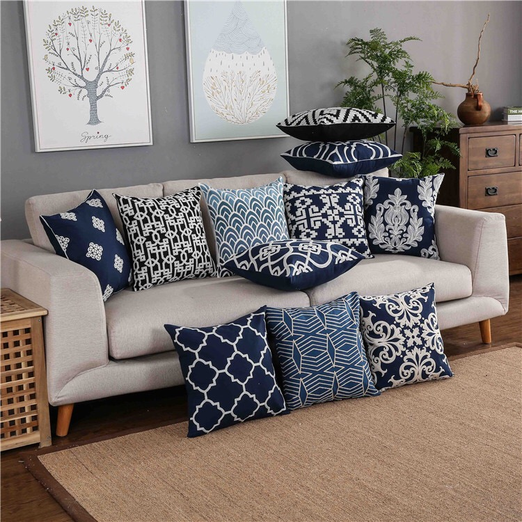 Home Decor Embroidered Cushion Cover Navy/White Pillowcase Canvas Cotton Square Embroidery Pillow Cover 45x45cm Quatrefoil