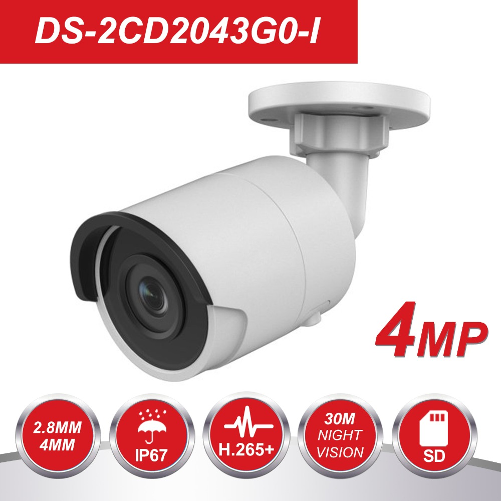 HIK H.265 Bullet IP Camera PoE DS-2CD2043G0-I 4MP CMOS IR Network Video Surveillance with SD Card Slot Face Dectection