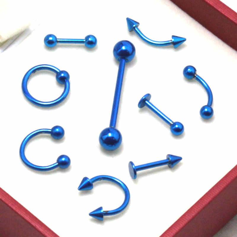 9pcs כחול כירורגית נירוסטה גבות האף שפתיים שבוי ביד טבעת לשון פירסינג Tragus סחוס עגיל גוף תכשיטים