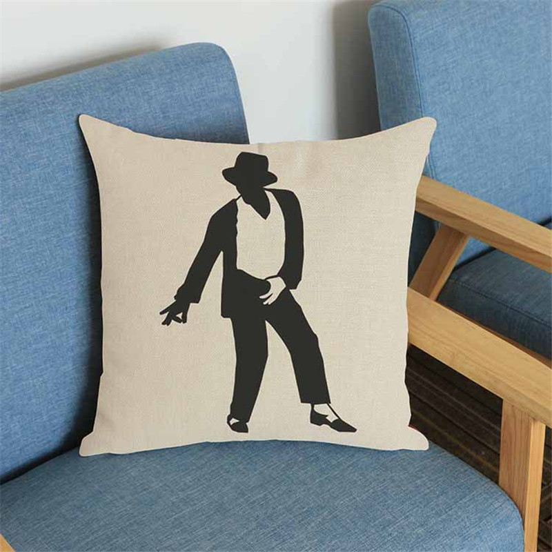 super star MJ printing Pillow case Cushion Cover Car chair office seat Home coffee shop Decoration gift
