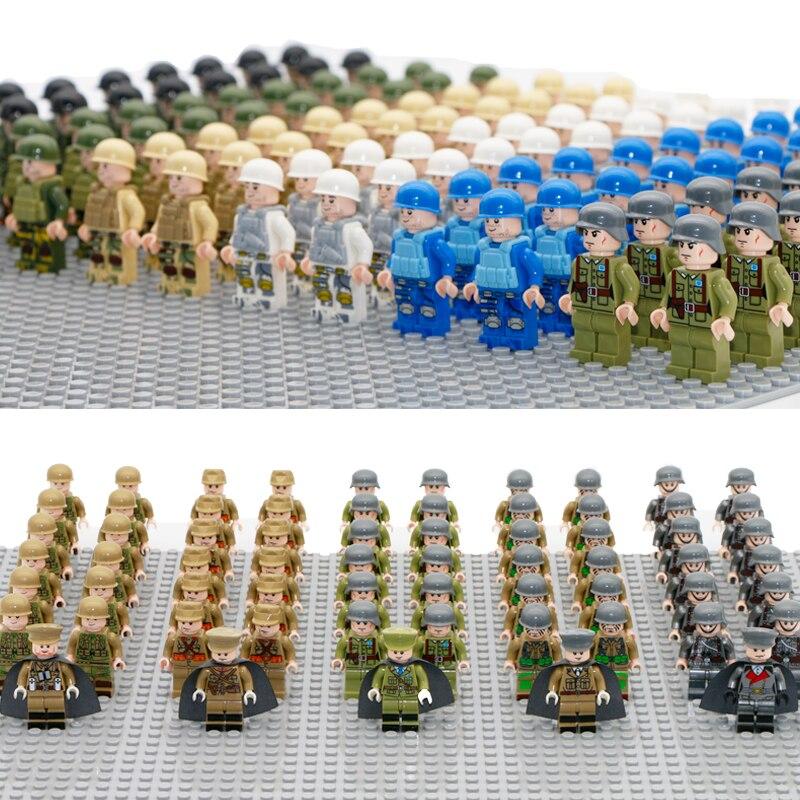 В стиле милитари цифры Совместимо LegoINGly WW2 солдат с оружием 98 k пистолет строительный блок кирпич Второй мировой войны Кирпичи игрушки для ма...