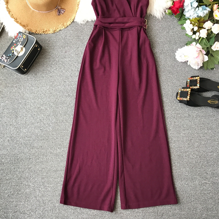 ALPHALMODA 2019 Spring Ladies Sleeveless Solid Jumpsuits V-neck High Waist Sashes Women Casual Wide Leg Rompers 65