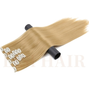 LISI HAIR Six Piece 56Cm 24 Inch Long Synthetic Hair 16 Clips Synthetic Fake False Hairpiece Clip In Hair Extension
