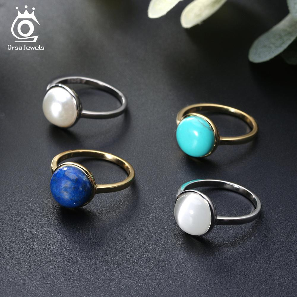 ORSA JEWELS Luxury 925 Sterling Silver Women Natural Stone Solitaire Rings Anniversary Ring Fashion Female Fine Jewelry ASR69