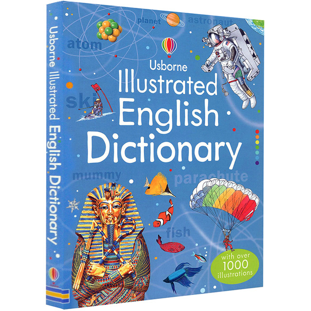 Usborne Illustrated English Dictionary Children Learning Words Book Tool With Over 1000 Illustrations Soft Cover
