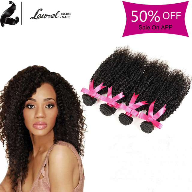 Laurel Hair Extensions Peruvian Kinky Curly Virgin Hair 4 Bundles
